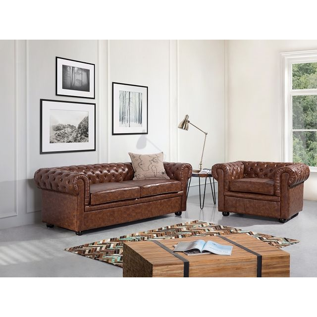 Beliani Fauteuil en cuir marron - Chesterfield Old Style