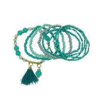 No Name - 8 Bracelets Elastiques Perles Rocailles Pompon couleur Turquoise taille taille unique
