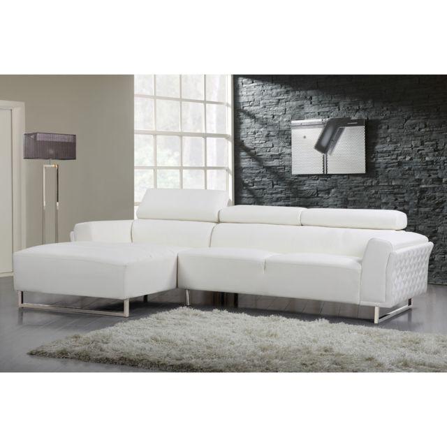 HABITAT ET JARDIN Canapé d'angle cuir reconstitué/PVC Broadway - 4 places - Blanc - Angle gauche