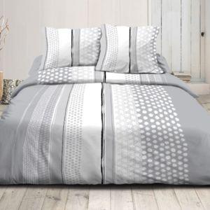100pourcentcoton housse de couette 220x240 cm microfibre tipois gris 1 drap plat 240x300 cm. Black Bedroom Furniture Sets. Home Design Ideas
