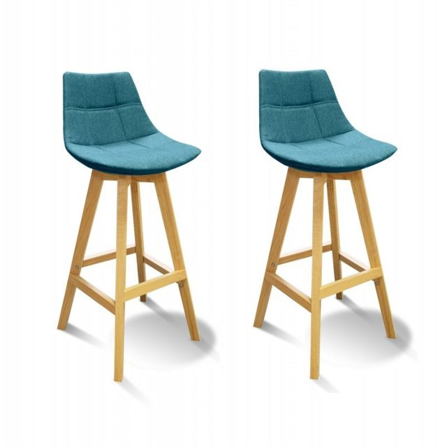 meubletmoi lot 2 tabourets de bar scandinave tissu bleu wendy - Lot De 2 Tabouret De Bar