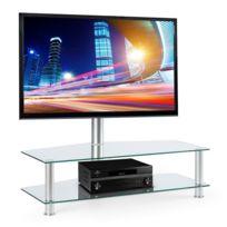 "ELECTRONIC STAR - Electronic-Star FAVS19 Meuble TV support écran 37 à 50"" 2 niveaux - verre argent Electronic-Star"
