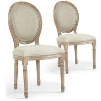 MENZZO - Lot de 2 chaises de style médaillon Louis XVI Tissu Beige