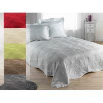 sans marque boutis couvre lit 230 x 250 cm taie - Dessus De Lit Taupe