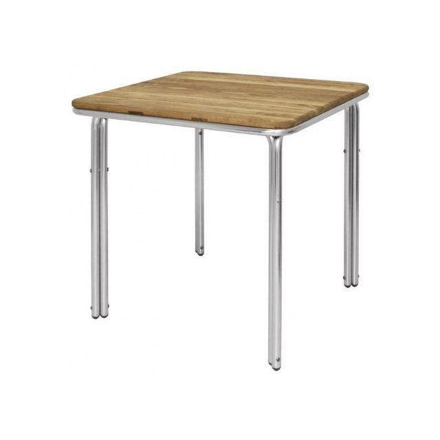 Materiel Chr Pro Table carrée en frêne et aluminium Bolero 700 mm