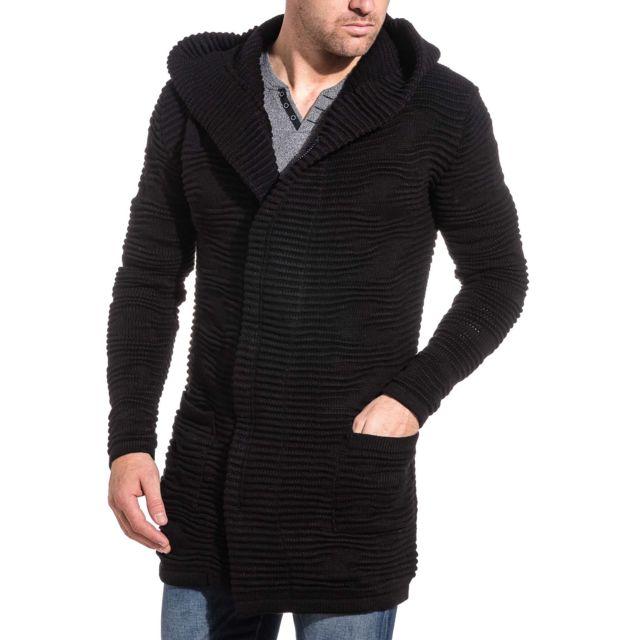 Ikao Gilet noir aspect cape à capuche