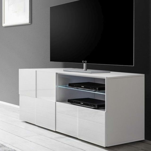 sofamobili petit meuble tv blanc laqu brillant artic. Black Bedroom Furniture Sets. Home Design Ideas