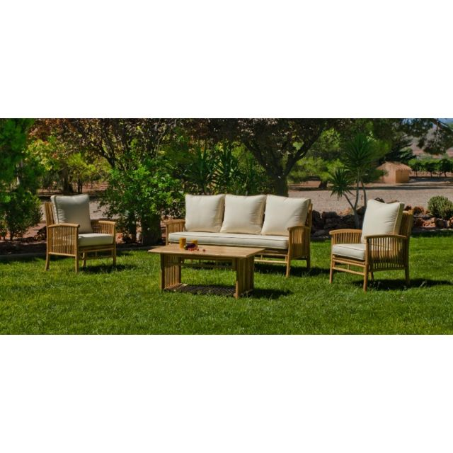 Hevea - Salon de jardin bas en bois \