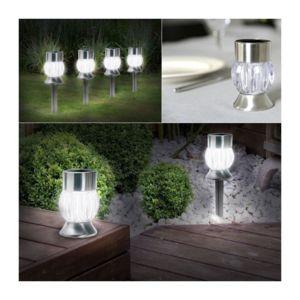 probache borne de jardin solaire x4 balise led clairage exterieur inox pas cher achat. Black Bedroom Furniture Sets. Home Design Ideas