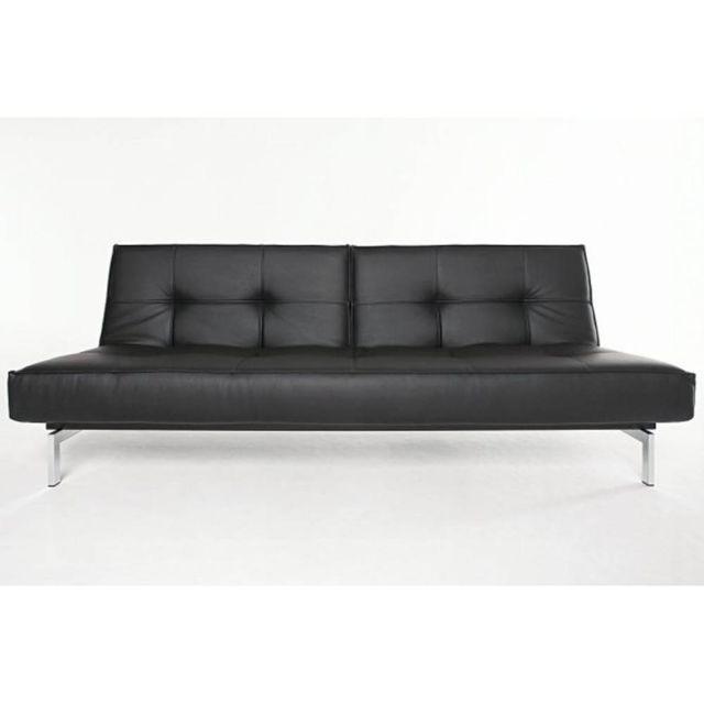 Inside 75 Canape lit design Splitback Chrome noir Leather Look_Black convertible 115 200 cm piétement inox