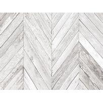 Graham And Brown - Papier peint 100% intissé motif planche de bois chevron vieilli gris 10.05x0.52m Tuck