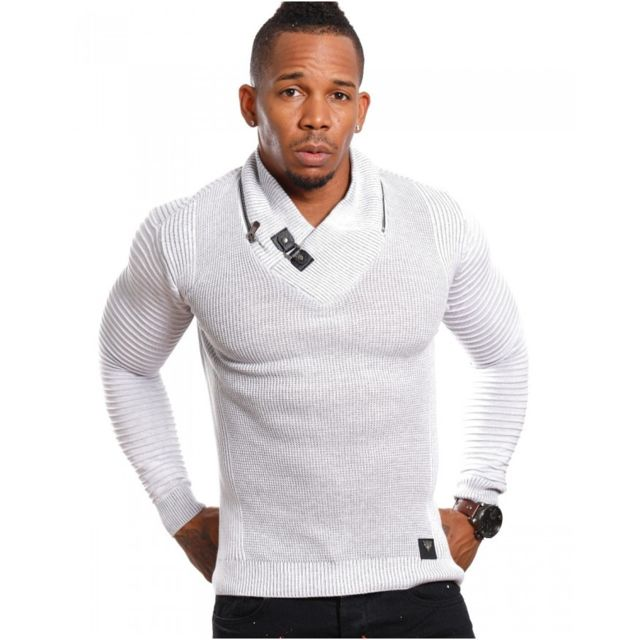 a1521b4315a8 Beststyle - Pull homme col chale gris - pas cher Achat   Vente Pull ...