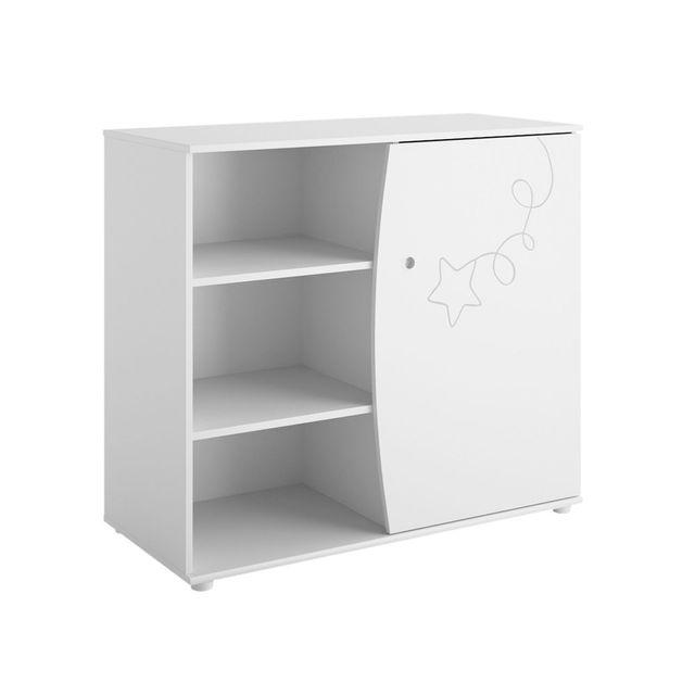 Galipette Commode 1 porte et 4 étagères décor blanc étoile cerf-volant L102 cm Adele - Sans plan à langer