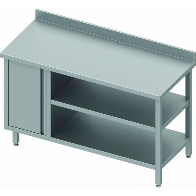 Materiel Chr Pro Table Inox Avec Porte & 2 Etagères - Dosseret - Profondeur 800 - Stalgast - inox 800x800 800