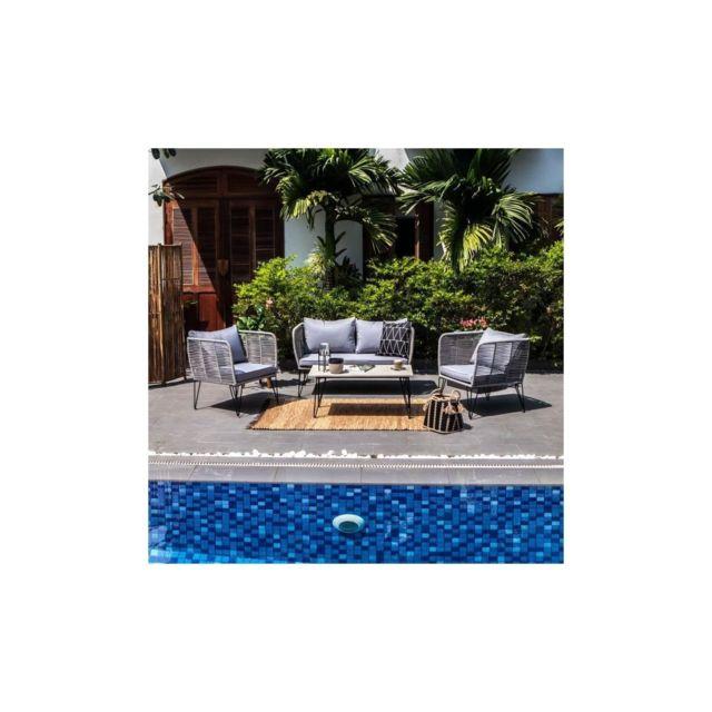 Pearl Salon de jardin 4 places - tissage en corde - un canape, deux  fauteuils et une table basse - Gris