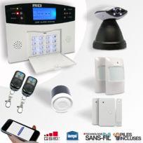 EMATRONIC - Alarme kit mixte sans-fil et filaire avec transmetteur Gsm et caméra Ip motorisée Al01C - Pour 2 ou 3 pièces