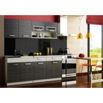 Baltic Meubles - Cuisine Topaze noir/gris chiné 1m80 / 5 meubles