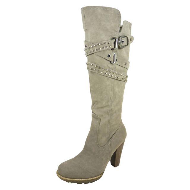 chaussmaro bottes hautes cuissardes femme a talons hauts de 8 cm zippees similicuir gris 40. Black Bedroom Furniture Sets. Home Design Ideas