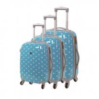 Madison - Madisson Bagage Lot de 3 valises - 4 Roues - Polycarbonate - Pois - Bleu