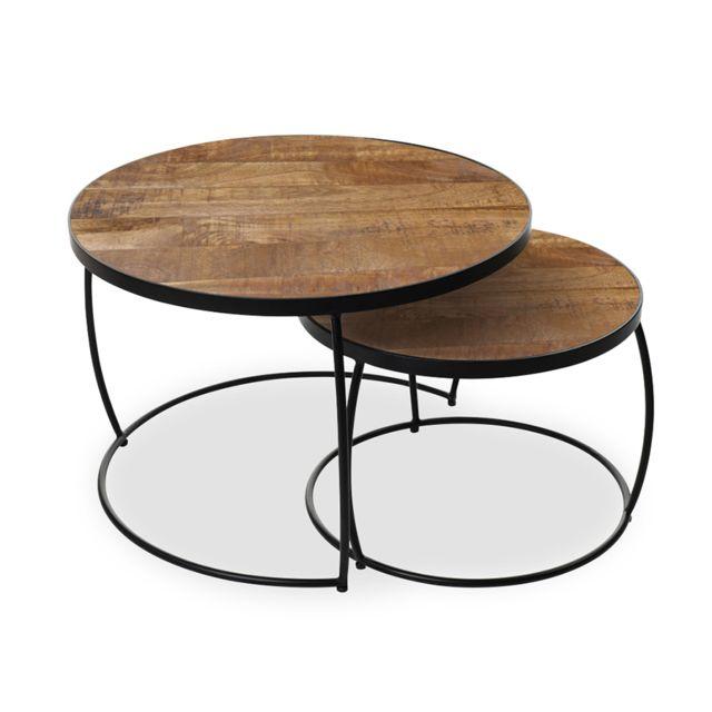 Nouvomeuble Table basse gigogne en bois et métal Larry