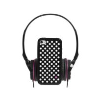 Modelabs - Coffret casque audio avec bumper à dos amovible Blueway® So Dots Black edition