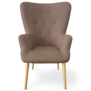 Menzzo Fauteuil scandinave Barkley Tissu Taupe pas cher Achat