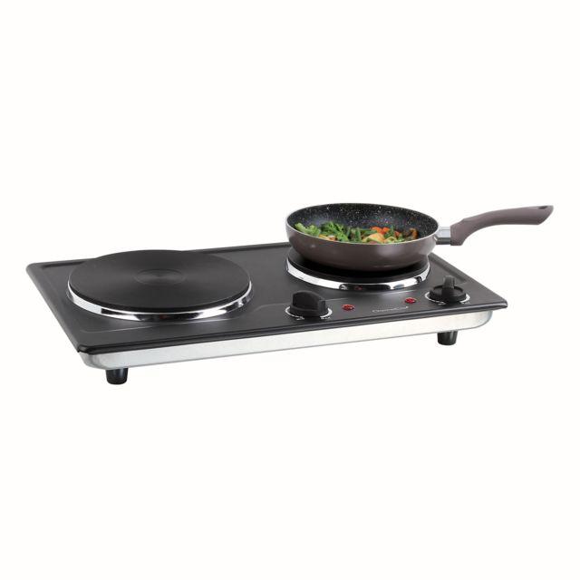 DOMOCLIP Plaque cuisson électrique noire double DOC168N