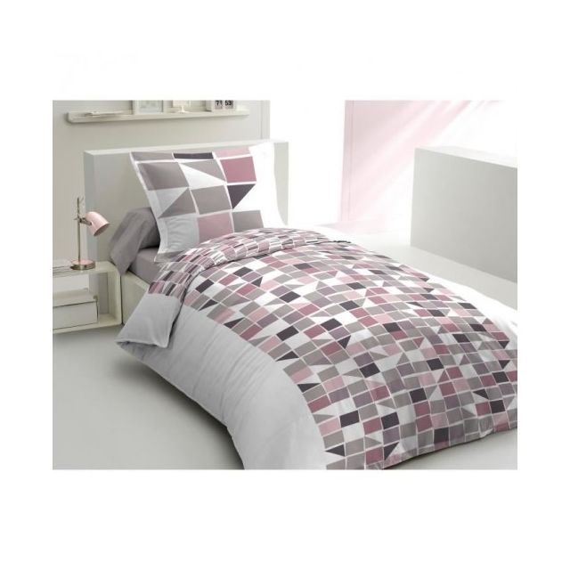 9ce3378c1fc87f Lovely home - Housse de Couette Mosa 140x200 Rose Poudre + 1 To ...