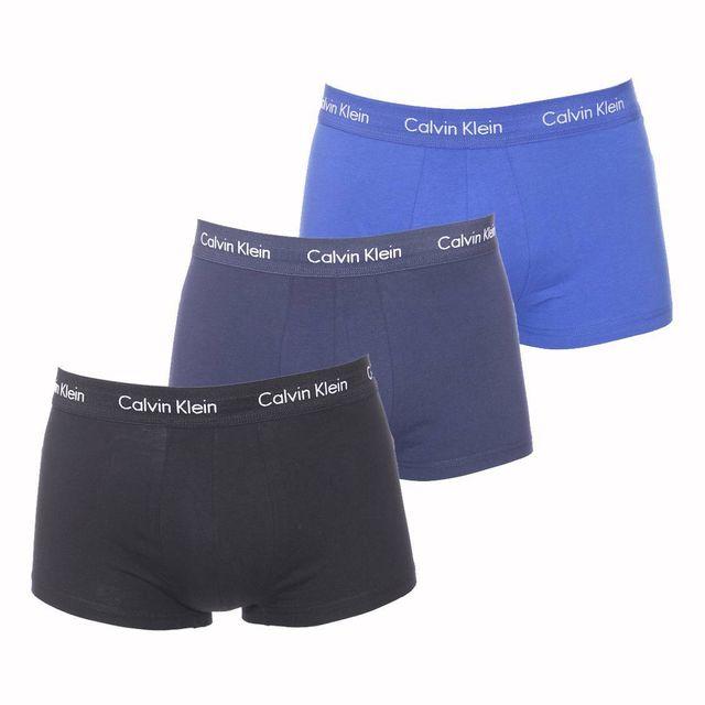 calvin klein lot de 3 shortys en coton stretch bleu marine noir et bleu roi pas cher achat. Black Bedroom Furniture Sets. Home Design Ideas