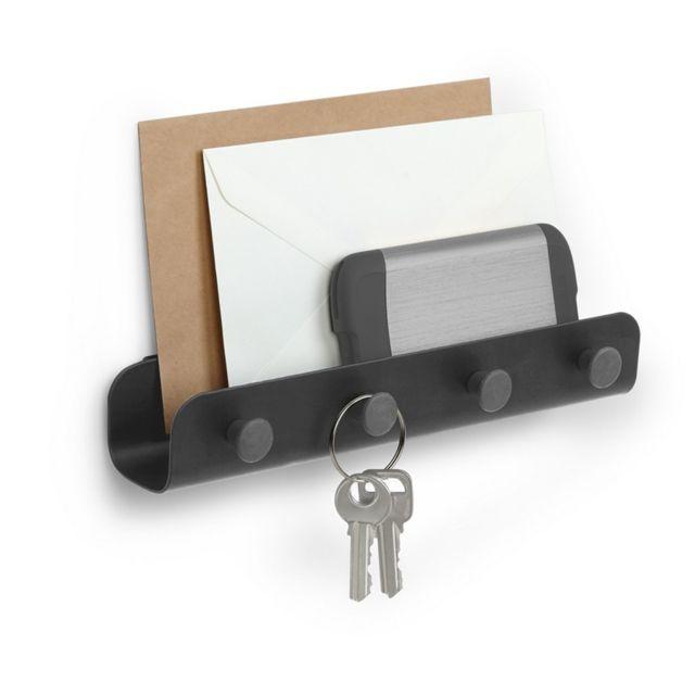 Accroche Clé Mural Design umbra - accroche clés porte-courrier mural design métal noir yook