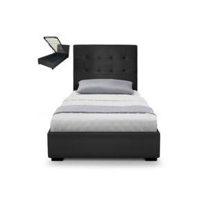 lit capitonn coffre capitonn 90x190 sommier cuir pu noir somy 90cm x 190cm pas cher achat. Black Bedroom Furniture Sets. Home Design Ideas