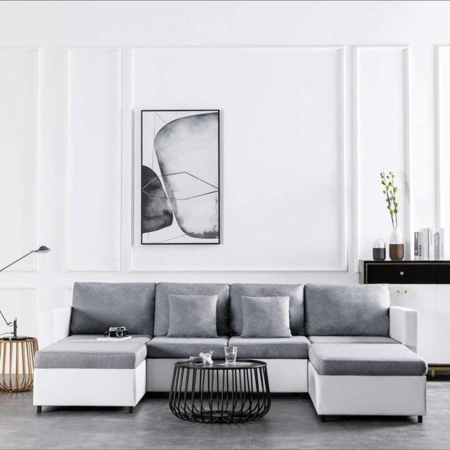 Vidaxl Canapé-lit extensible à 4 places Similicuir Blanc