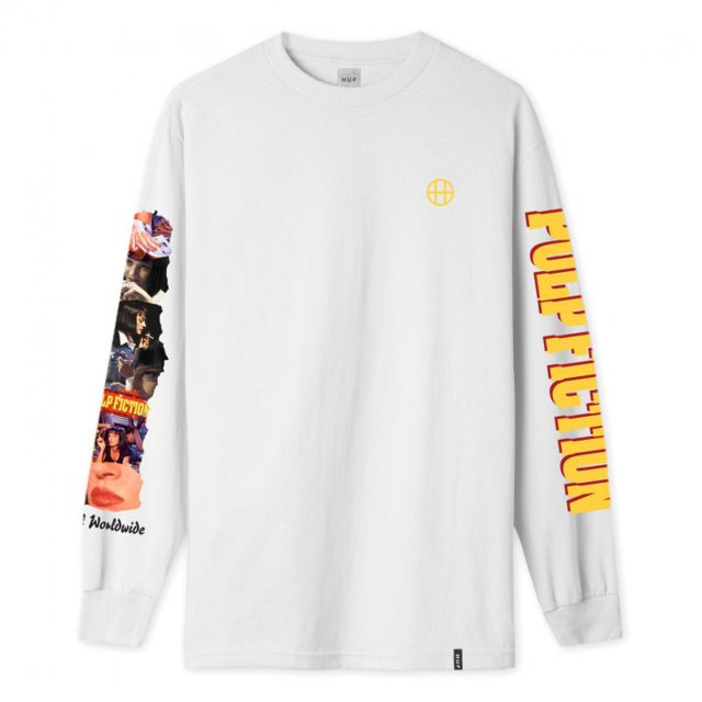 HUF T-shirt collage ls, White