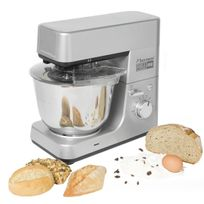 BESTRON - Kitchen Master Pro: Robot Ménager 1600W 8 vitesses + pulse. Bol en inox 5L + Blender en verre + Râpe/éminceur
