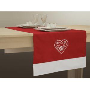 le linge de jules chemin de table 50x140 cm anti taches rouge avec ourlet