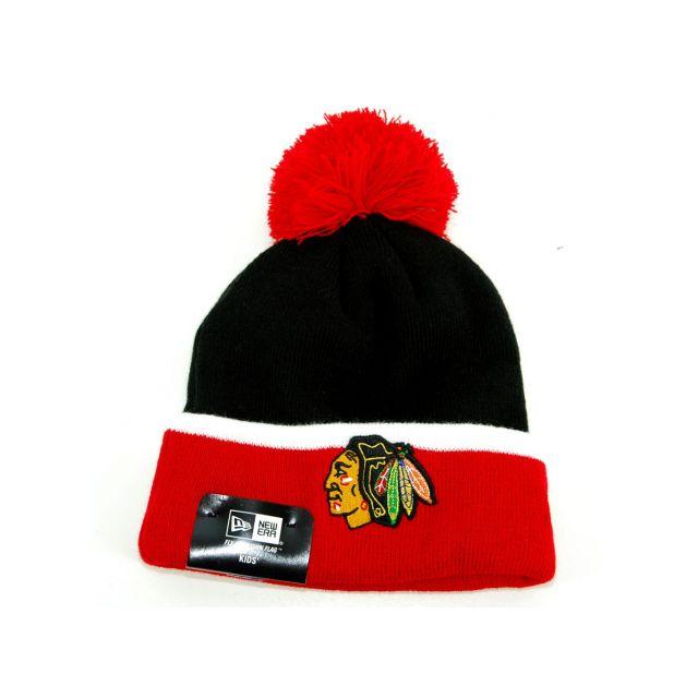 5f6174d9af4 New Era Cap - Bonnet Enfant New Era Chicago Blackhawks Pompon Noir - Rouge  Cuff Bobble