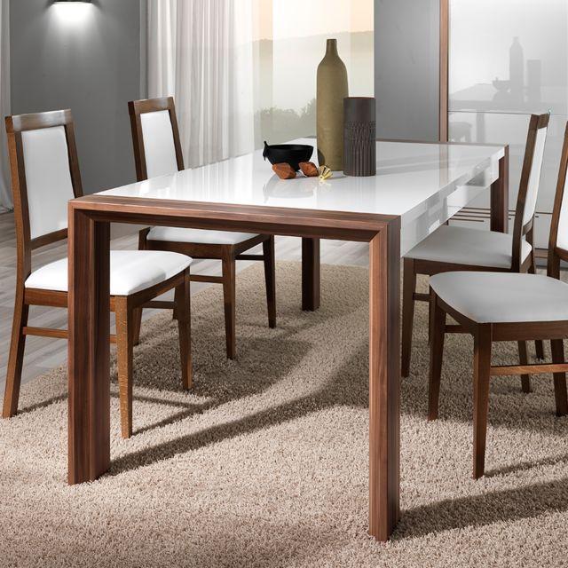 Nouvomeuble Table 160 cm blanc laqué et couleur noyer moderne Lugos
