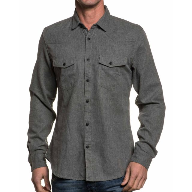 Tiffosi Chemise homme grise stylé manches longues