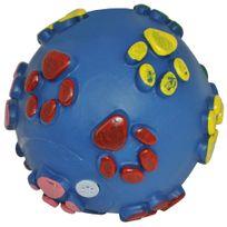 Promobo - Jouet Bruiteur Chien Balle Sonore Relief Plastique Maléable Bleu Foncé 9cm