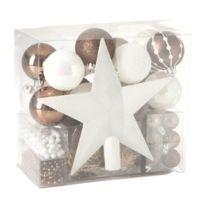Feerie Christmas - Kit de décoration pour sapin de Noël - 44 Pièces - Marron et blanc