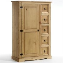 IDIMEX - Buffet chiffonnier apothicaire pin massif style mexicain finition cirée