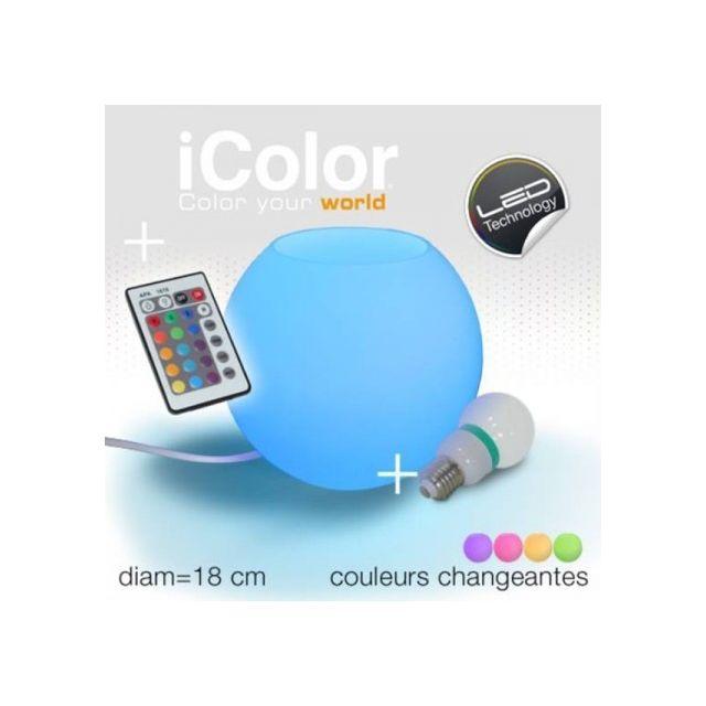 Icolor Lampe Led A Poser Boule Telecommande Pas Cher Achat