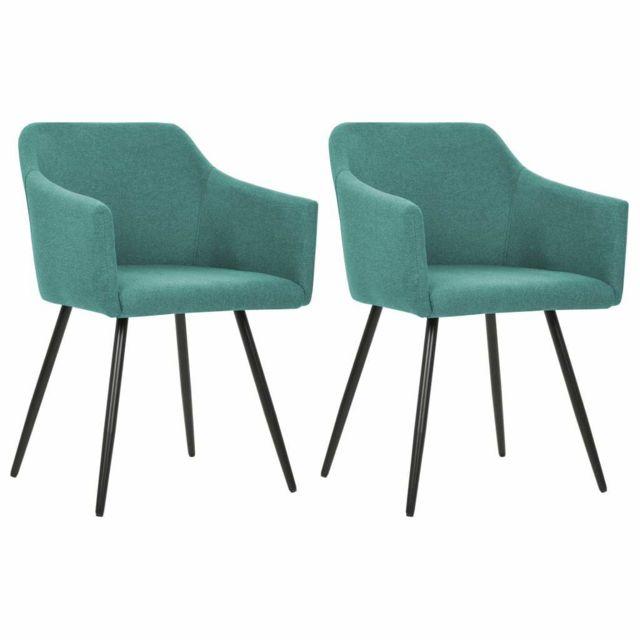 Lot de deux chaises de salle à manger vert tissu 1902173