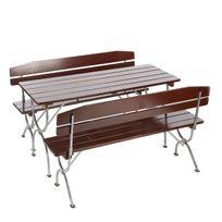 Mendler - Ensemble de jardin Linz, table + 2 bancs, bois massif, pliable, 180cm