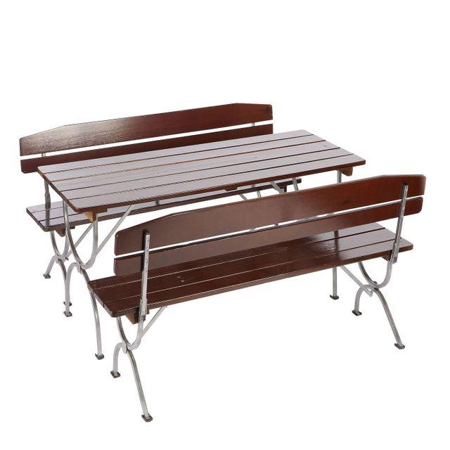 Mendler Ensemble de jardin Linz, table + 2 bancs, bois massif, pliable, 150cm