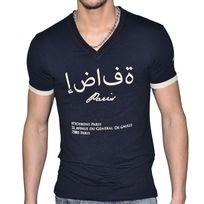 Hechbone Paris - Hechbone - T Shirt Manches Courtes - Col V - Homme - Sana'a - Noir