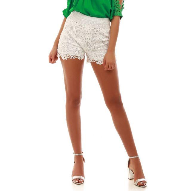 21697a41f2e3b Lamodeuse - Short blanc en crochet - pas cher Achat / Vente Short ...