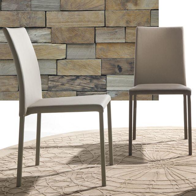 Nouvomeuble Chaise taupe design empilable Amanda lot de 4