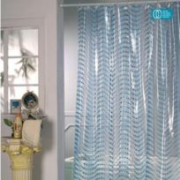 Msv - Rideau de douche pvc 180x200cm perles bleues