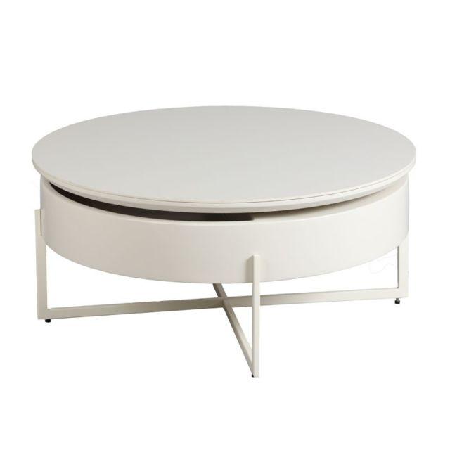 Dansmamaison Table basse Acier/Bois/Céramique - Rando - L 85 x l 85 x H 38 cm